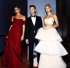 Taylor Hill, Cameron Dallas & Hailey Baldwin from Best Social Media Pics From Inside the 2017 Met Gala  The three young models look radiant in their couture looks.