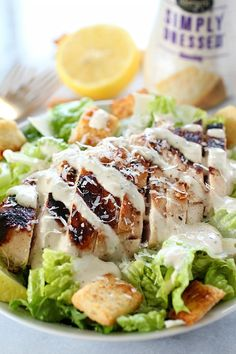 Grilled Chicken Caesar Salad for a yummy summertime lunch or dinner! With a simple yogurt marinade recipe, this grilled chicken is tender and delicious. Served over romaine lettuce, homemade croutons, shaved parmesan and caesar dressing - YUM! Salad Recipes Video, Salad Recipes For Dinner, Healthy Salad Recipes, Healthy Food, Yummy Food, Eating Healthy, Best Chicken Recipes, Beef Recipes, Whole Food Recipes