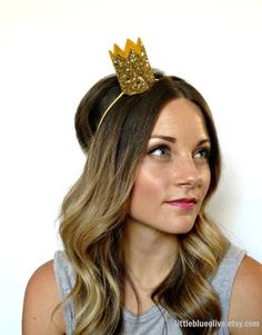 Glitter Crown- Bride Mini Crown Bachelorette Party Headband Gold Glitter Photo Prop from littleblueolive on Etsy. Glitter Photo, Gold Glitter, Glitter Fabric, Designer Headbands, Birthday Party Hats, Birthday Box, Crown Headband, Lany, Maid Of Honor