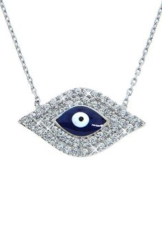 Sterling Silver Blue Evil Eye Necklace