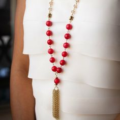 Coral Pink jade gemstone necklace with gold tassel by BlushingGemDesigns on Etsy https://www.etsy.com/listing/269157018/coral-pink-jade-gemstone-necklace-with