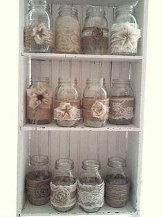 12 Rustic Burlap Mason Jar Wedding Decorations