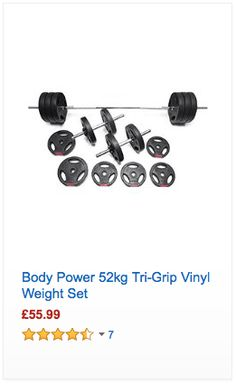 Body Power 52kg Tri-Grip Vinyl Weight Set - #Fitness #Cardio #Gym #Nutrition