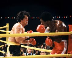 Carl Weathers and Sylvester Stallone in Rocky II (1979)