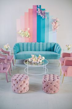 Gallery - If Lisa Frank Had a Pastel Rainbow Wedding This Would Be It Rainbow Wedding Decorations, Table Decorations, Decor Wedding, Alternative Wedding Inspiration, Pastel Interior, Photo Booth Backdrop, Upholstered Furniture, Home Decor Inspiration, Decor Ideas