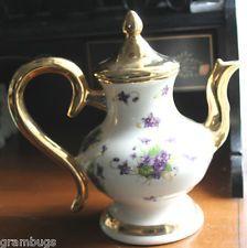 Lovely Vintage Gold W Violets Tea Coffee Pot