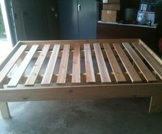 """(1) 1x6x12, cut to 2 56"""" lengths, one 31"""" drop (only unused part) (2) 1x6x8x2, cut to 2 75"""" lengths, two 21"""" drops (used for legs)  (2) 2x4x8, cut to 2 75"""" lengths, an additional 2 21"""" drops (6) 1x4x8, cut to 12 48"""" lengths, no leftovers here.  I used the 56"""" and 75"""" 1x6's to frame out the box, with about an inch and a half raising up over the slats.  This helps hold the mattress in place, so no worries about it sliding.  The 2x4x75 were spaced about 3 feet apart, symmetrical about center,"""