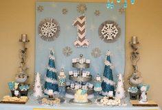 Winter wonderland ONE-derland 1st birthday party- baby boy - dessert table - sweets candy table ideas - chevron - owl - backdrop