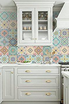 Vinilo decorativo autoadhesivo con diseño de azulejos portugueses de la colección Belém (12 unidades) (15 x 15 cm cada uno): Amazon.es: Hogar