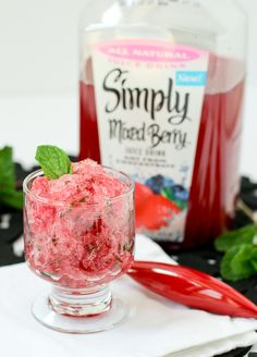 3 ingredient Berry Mint Granita with Rum - a refreshing summer treat! Get the easy recipe on RachelCooks.com! #SimplyJuiceDrinks #sponsored