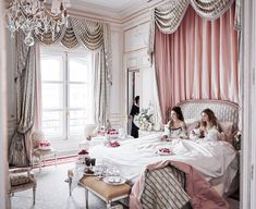 """versaillesadness: """"A luxurious room, french cakes and a crystal chandeliers is all we need  . . #france #paris #hotel #ritz #palace #luxury #art #arthistory #architecture #interiordesign #pink..."""