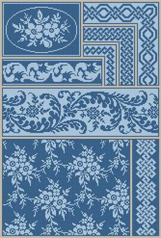 Antique Sampler Repeating Celtic Borders Floral Textile Adaptation Counted Cross Stitch Pattern PDF