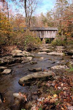 Fall, covered bridge