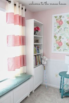 58 ideas bedroom window seat curtains bookcases for 2019 Window Seat Curtains, Baby Room Curtains, Room Window, Short Curtains Bedroom, Gypsy Curtains, Room Baby, Diy Curtains, Big Girl Bedrooms, Little Girl Rooms