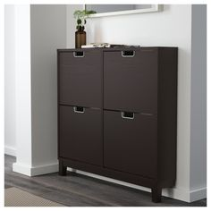 IKEA - STÄLL, Shoe cabinet with 4 compartments, , Helps you organize your shoes and saves floor space at the same time.In the shoe cabinet your shoes get the Wood Shoe Storage, Shoe Cabinet, Baseboards, Shoe Storage Cabinet, Black And Brown, Storage Cabinets, Ikea, Locker Storage, Ikea Shoe Cabinet