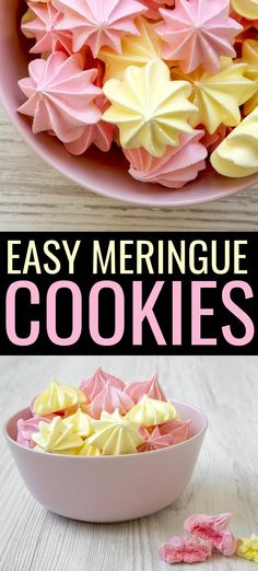 Easy Meringue Cookies Get ready to create the perfect meringue with only 5 ingredients using this easy meringue cookies recipe. These cookies melt in your mouth! The post Easy Meringue Cookies appeared first on Rezepte. Egg White Dessert, White Desserts, Easy Desserts, Dessert Recipes With 1 Egg, Dinner Recipes, Easy Desert Recipes, Sweets Recipes, Christmas Desserts, Meat Recipes