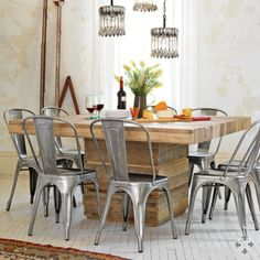 Wooden square table + industrial chairs