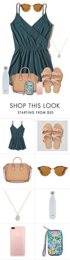 """It's been ☔️ for weeks but now it's ☀️"" by zoejm ❤ liked on Polyvore featuring Hollister Co., American Eagle Outfitters, Givenchy, Ray-Ban, Kendra Scott, S'well and Lilly Pulitzer"