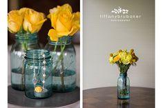 Blue mason jars, yellow flowers, wedding » Tiffany Brubaker Photography – La Crosse, WI wedding photographer