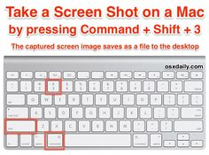 Print a screen shot of the Mac with this keyboard shortcut - brings up a selection box so you can specify an area to take a screenshot of, then save it as a file to the desktop then spacebar, then click a window: takes a s Macbook Hacks, Mac Keyboard Shortcuts, Macbook Pro Tips, Apple Macbook Pro, Macbook Air, Macbook Keyboard Stickers, Macbook Desktop, Mac Tips, Iphone 5s Screen
