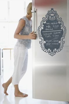 refrigerator chalkboard. Maybe not directly on the door, but attached with magnets.