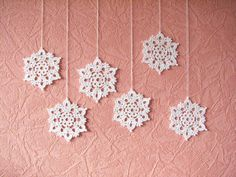Crochet snowflakes ornaments from SkyBlueFancy $15