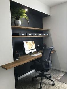 Home Office Setup, Home Office Space, Home Office Desks, Tiny Office, Office Ideas, Office Decor, Desk Ideas, Closet Office, Furniture Ideas