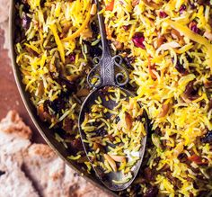 Jeweled Rice.  Seems like climbing a mountain to make this, but I can't turn away from a challenge.  Also making this for dinner tomorrow if I can find some better saffron