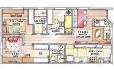 Casa térrea de 72 m² - mudar bwc quarto - porta entre a cuba e o restante, ampliar o quarto e a suite, sem mudar a area total da casa. Layouts Casa, House Layouts, Apartment Floor Plans, Apartment Complexes, Small Places, Small House Design, Tiny Spaces, Facade House, Small House Plans