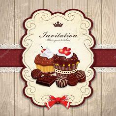 Descargar - Marco vintage con plantilla de bizcocho de chocolate — Ilustración de stock