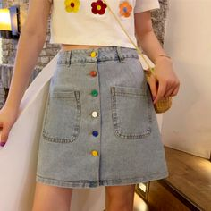 Free Shipping~|| Colorful Button Pocket Up Denim Skirt