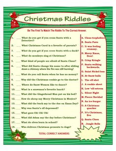 Christmas Riddle Game DIY Holiday Party Game Printable Christmas Game DIY Game For Holiday Xmas Game Idea Kid Game Printables 4 Less Christmas parties Xmas Games, Printable Christmas Games, Holiday Party Games, Holiday Fun, Christmas Party Games For Adults, Christmas Riddles For Kids, Office Christmas Party Games, Christmas Games Free, Holiday Activities