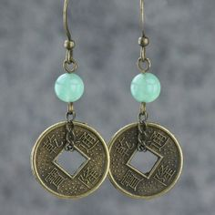 Jade and antique coin hoop earrings Bridesmaids gifts Free US Shipping handmade Anni Designs