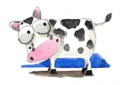 ACEO Original watercolor painting Lucia Stewart whimsy farm animal cute cow #IllustrationArt
