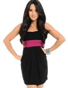 (CLICK IMAGE TWICE FOR DETAILS AND PRICING) Alima Pocket Dress Black_Pink. This tube dress is one of a king, with pockets on both sides and a fuchsia color sash in the center. Wear it with black pumps and colored accessories for a pop of color.. See More Party Dress at http://www.ourgreatshop.com/Party-Dress-C79.aspx