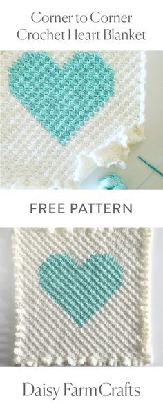 FREE PATTERN Corner to Corner Crochet Heart Blanket by Daisy Farm Crafts