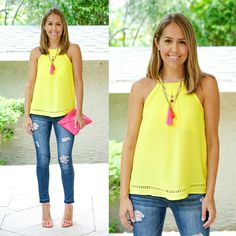 J's Everyday Fashion provides outfit ideas, budget fashion, shopping on a budget, personal style inspiration, and tips on what to wear. Simple Outfits, Casual Outfits, Cute Outfits, Summer Fashion Outfits, Spring Outfits, Bright Summer Outfits, Js Everyday Fashion, Mode Jeans, Yellow Blouse