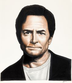 Past, Present and Future. (Present). New better quality digital print image of Michael J Fox in colour pencil.