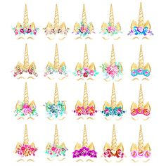 Unicorn Clipart: gold foil unicorn face rainbow flowers