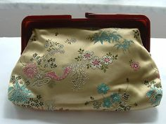 Gold Clutch Japanese Hand Stitched Scenery Floral Blue Green Gold Silver White Turquoise Lucite Handle No. 23 Antique 1950s