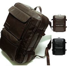 Mens Womens High Quality Synthetic Leather Backpack School Laptop Brown Bag 174 $65