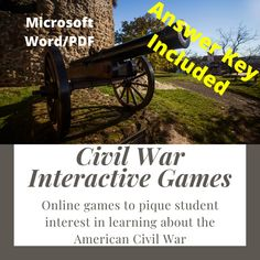 Civil War Interactive Games - Amped Up Learning Trivia Questions, Trivia Games, Civil War Activities, Game Presents, Game Google, Review Games, American Civil War, Math Centers, Online Games