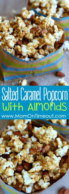Welcome to your new favorite snack - Salted Caramel Popcorn with Almonds! Perfect for parties, road trips, family movie night and more! Popcorn Snacks, Flavored Popcorn, Popcorn Recipes, Party Snacks, Snack Recipes, Dessert Recipes, Cooking Recipes, Popcorn Balls, Gourmet Popcorn