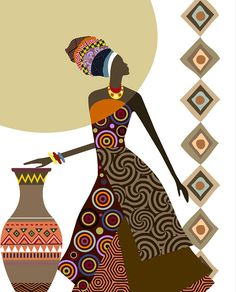 African Woman Art Afrocentric Art African Wall Art by iQstudio African Wall Art, African Art Paintings, African American Art, African Women, Black Women Art, Black Art, Art Women, Art Mural Africain, African Quilts