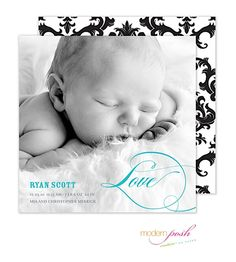 Love Baby Boy Photo Square Birth Announcement | Black and White Damask for a new baby boy from Little Angel Announcements
