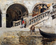 EDWIN LORD WEEKS American, 1849–1903  Rialto Bridge, Venice  Signed E.L. Weeks Oil on board 8½ x 10½ inches (21.6 x 26.7 cm) Framed: 14½ x 16½ inches (36.8 x 42 cm)
