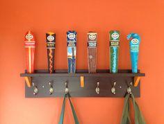 Kona Brewing tap handle coat rack.