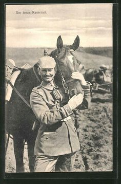 """Der treue Kamerad"". German officer with his horse, WW1."
