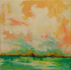 "Abstract  Landscape Sky Oil Painting of Clouds Pink, Peach, Green, yellow ""Prosecco Pesche"" by Hilary Butler Fine Art"