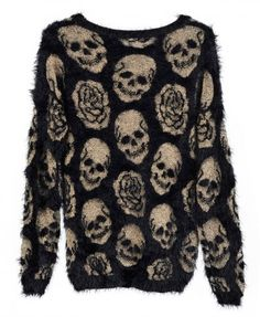 Long Sleeves Mohair Pullover with Skull & Roses Printed - Knitwear - Clothing